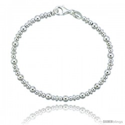 Sterling Silver Saucer Bead Bracelet), 5/32 in. (4 mm) wide