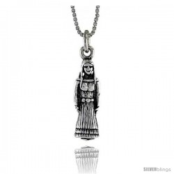 Sterling Silver Native American Woman Pendant, 1 in. (25 mm) Long.
