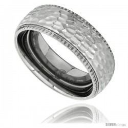 Surgical Steel Domed 8mm Wedding Band Ring Hammered Finish Milgrain Edges Comfort-Fit