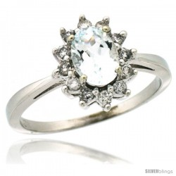 10k White Gold Diamond Halo Aquamarine Ring 0.85 ct Oval Stone 7x5 mm, 1/2 in wide