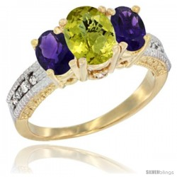 10K Yellow Gold Ladies Oval Natural Lemon Quartz 3-Stone Ring with Amethyst Sides Diamond Accent
