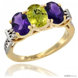 10K Yellow Gold Natural Lemon Quartz & Amethyst Sides Ring 3-Stone Oval 7x5 mm Diamond Accent