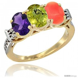 10K Yellow Gold Natural Amethyst, Lemon Quartz & Coral Ring 3-Stone Oval 7x5 mm Diamond Accent