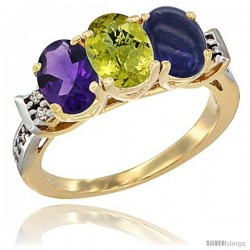 10K Yellow Gold Natural Amethyst, Lemon Quartz & Lapis Ring 3-Stone Oval 7x5 mm Diamond Accent