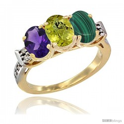 10K Yellow Gold Natural Amethyst, Lemon Quartz & Malachite Ring 3-Stone Oval 7x5 mm Diamond Accent