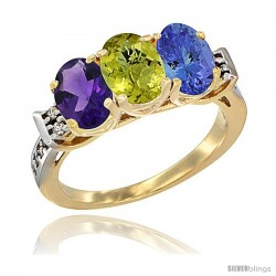 10K Yellow Gold Natural Amethyst, Lemon Quartz & Tanzanite Ring 3-Stone Oval 7x5 mm Diamond Accent