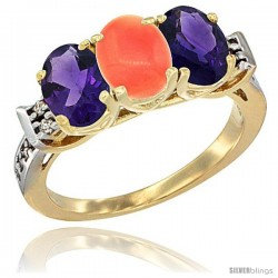 10K Yellow Gold Natural Coral & Amethyst Sides Ring 3-Stone Oval 7x5 mm Diamond Accent