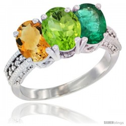 14K White Gold Natural Citrine, Peridot & Emerald Ring 3-Stone 7x5 mm Oval Diamond Accent