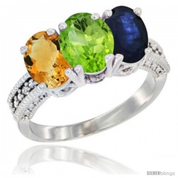 14K White Gold Natural Citrine, Peridot & Blue Sapphire Ring 3-Stone 7x5 mm Oval Diamond Accent