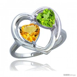 14k White Gold 2-Stone Heart Ring 6mm Natural Citrine & Peridot Diamond Accent