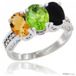 14K White Gold Natural Citrine, Peridot & Black Onyx Ring 3-Stone 7x5 mm Oval Diamond Accent