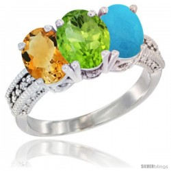 14K White Gold Natural Citrine, Peridot & Turquoise Ring 3-Stone 7x5 mm Oval Diamond Accent