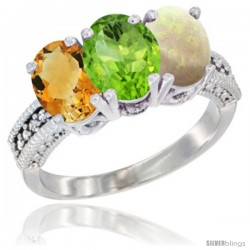 14K White Gold Natural Citrine, Peridot & Opal Ring 3-Stone 7x5 mm Oval Diamond Accent