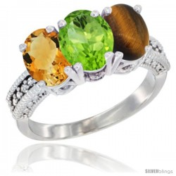 14K White Gold Natural Citrine, Peridot & Tiger Eye Ring 3-Stone 7x5 mm Oval Diamond Accent