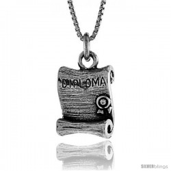 Sterling Silver Diploma Pendant, 11/16 in. (18 mm) Long.