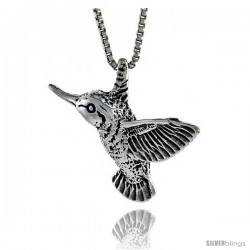 Sterling Silver Hummingbird Pendant, 3/4 in. (20 mm) Long.