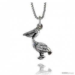 Sterling Silver Pelican Pendant, 11/16 in. (17 mm) Long.
