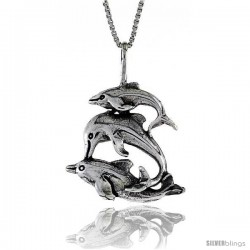 Sterling Silver Triple Dolphin Pendant, 1 1/8 in. (29 mm) Long.