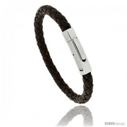 Stainless Steel Braided Brown Leather Bracelet, 5/16 in wide, 7 1/2 in