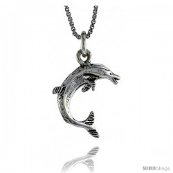 Sterling Silver Dolphin Pendant, 13/16 in. (21 mm) Long.