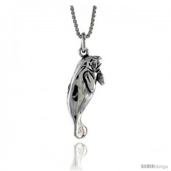 Sterling Silver Manatee Pendant, 15/16 in. (24 mm) Long.