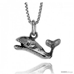 Sterling Silver Whale Pendant, 5/8 in. (16 mm) Long.