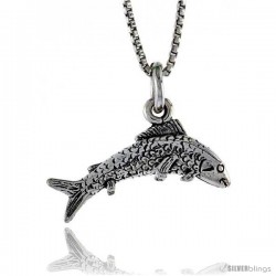 Sterling Silver Trout Pendant, 13/16 in. (21 mm) Long.