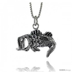 Sterling Silver Big Mouth Bass Pendant, 15/16 in. (24 mm) Long.