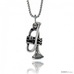 Sterling Silver Trumpet Pendant, 3/4 in. (19 mm) Long.