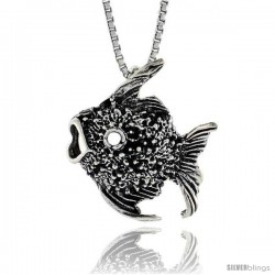 Sterling Silver Fish Pendant, 13/16 in. (21 mm) Long. -Style Po267