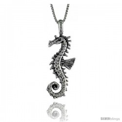 Sterling Silver Seahorse Pendant, 1 1/2 in. (38 mm) Long.