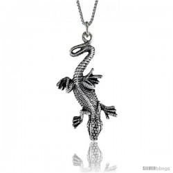 Sterling Silver Gecko Pendant, 1 1/2 in. (40 mm) Long.