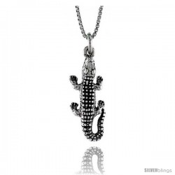 Sterling Silver Alligator Pendant, 1 in. (26 mm) Long.