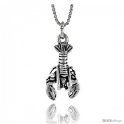 Sterling Silver Lobster Pendant, 7/8 in. (22 mm) Long.