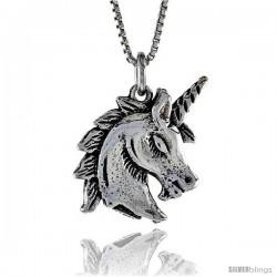 Sterling Silver Unicorn Pendant, 3/4 in. (20 mm) Long.