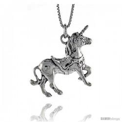 Sterling Silver Unicorn Pendant, 1 in. (25 mm) Long.