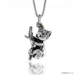 Sterling Silver Koala Bear Pendant, 7/8 in. (22 mm) Long.
