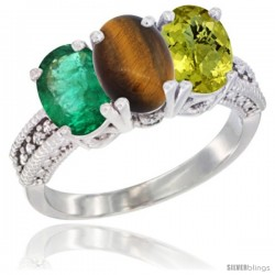 10K White Gold Natural Emerald, Tiger Eye & Lemon Quartz Ring 3-Stone Oval 7x5 mm Diamond Accent