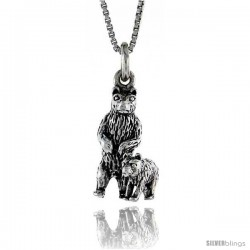 Sterling Silver Bear with Cub Pendant, 13/16 in. (21 mm) Long.