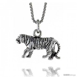 Sterling Silver Tiger Pendant, 3/4 in. (19 mm) Long.