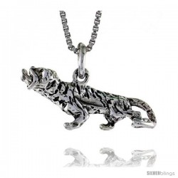 Sterling Silver Tiger Pendant, 1.0 in. (25 mm) Long.