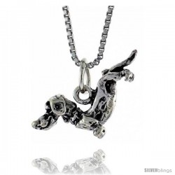 Sterling Silver Dachshund Dog Pendant, 13/16 in. (20 mm) Long.