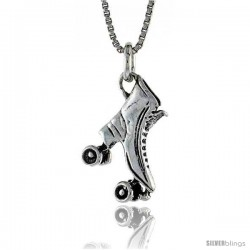 Sterling Silver Roller Skates Pendant, 15/16 in. (24 mm) Long.