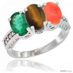 10K White Gold Natural Emerald, Tiger Eye & Coral Ring 3-Stone Oval 7x5 mm Diamond Accent
