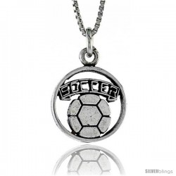 Sterling Silver Soccer Pendant, 3/4 in. (20 mm) Long.
