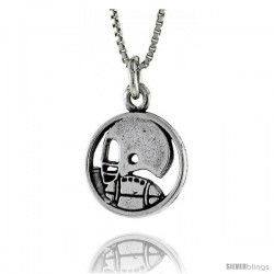 Sterling Silver Football Pendant, 3/4 in. (20 mm) Long.