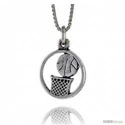 Sterling Silver Basketball Pendant, 3/4 in. (20 mm) Long.
