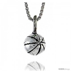 Sterling Silver Teeny Basketball Pendant, 9/16 in. (24 mm) Long.