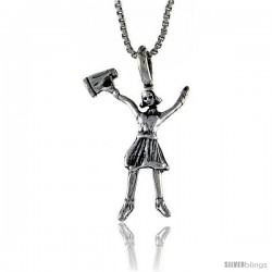 Sterling Silver Cheerleader Pendant, 1 1/6 in. (27 mm) Long.