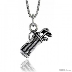 Sterling Silver Golf Bag with Clubs Pendant, in. ( mm) Long.